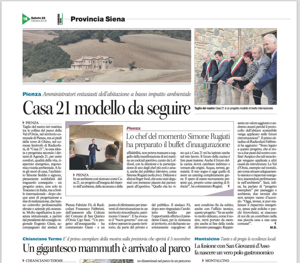 2016-10-22-Articolo Corriere di Siena Taglio del Nastro Casa21 Mariella Baccheschi